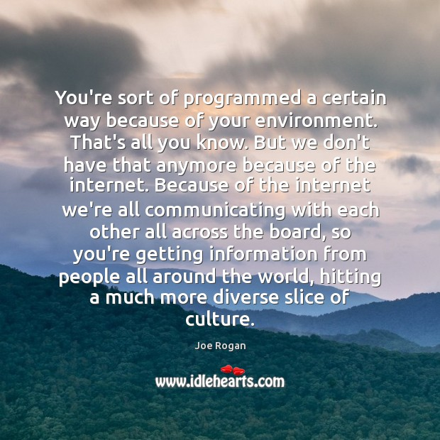 You're sort of programmed a certain way because of your environment. That's Image