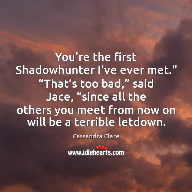"""You're the first Shadowhunter I've ever met."""" """"That's too bad,"""" said Image"""