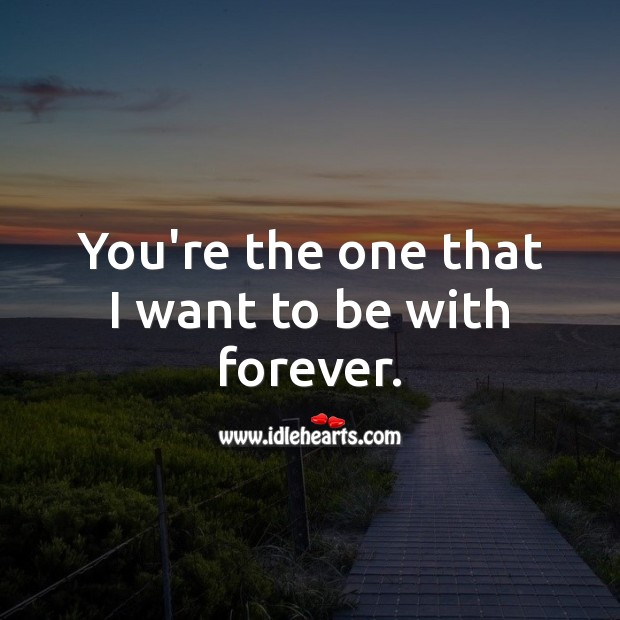 You're the one that I want to be with forever. Romantic Messages Image