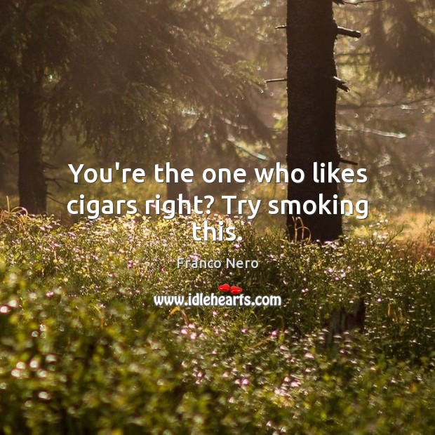 You're the one who likes cigars right? Try smoking this. Image