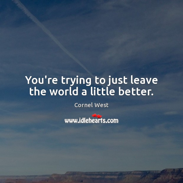 You're trying to just leave the world a little better. Image