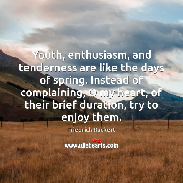 Youth, enthusiasm, and tenderness are like the days of spring. Instead of Image