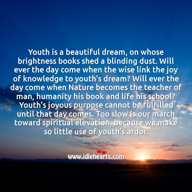 Youth is a beautiful dream, on whose brightness books shed a blinding Khalil Gibran Picture Quote