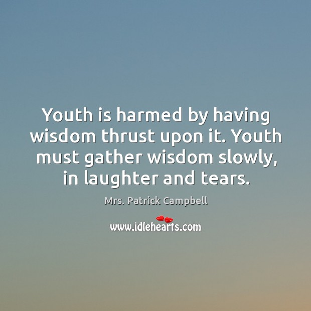 Youth is harmed by having wisdom thrust upon it. Youth must gather Image