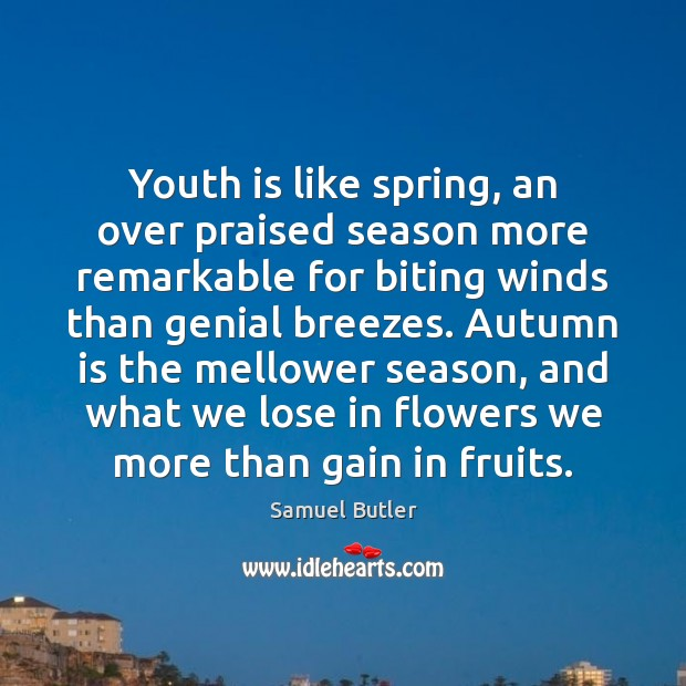 Youth is like spring, an over praised season more remarkable for biting Image