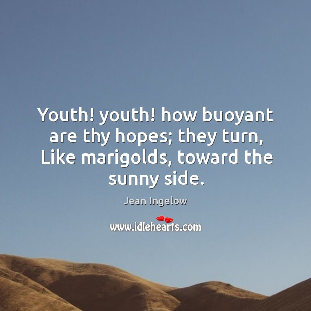 Youth! youth! how buoyant are thy hopes; they turn, like marigolds, toward the sunny side. Image