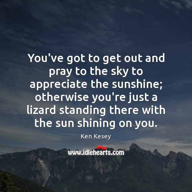 You've got to get out and pray to the sky to appreciate Ken Kesey Picture Quote