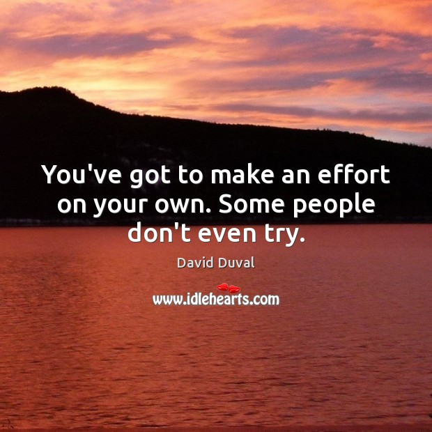 You've got to make an effort on your own. Some people don't even try. David Duval Picture Quote