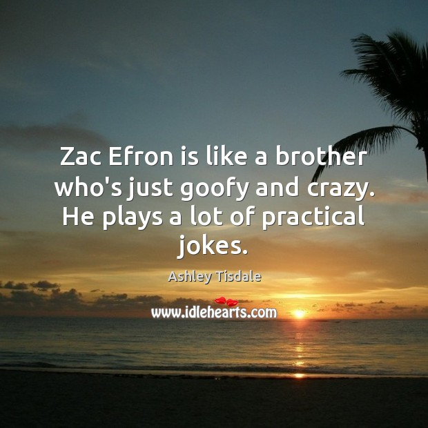 Zac Efron is like a brother who's just goofy and crazy. He plays a lot of practical jokes. Ashley Tisdale Picture Quote