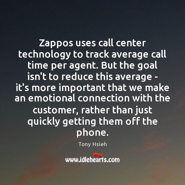 Zappos uses call center technology to track average call time per agent. Goal Quotes Image