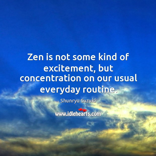 Image, Zen is not some kind of excitement, but concentration on our usual everyday routine.
