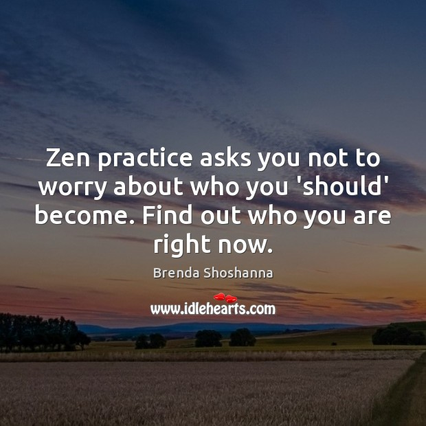 Image, Zen practice asks you not to worry about who you 'should' become.