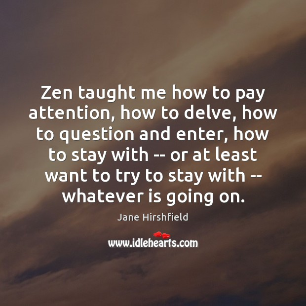 Zen taught me how to pay attention, how to delve, how to Image