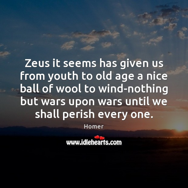 Zeus it seems has given us from youth to old age a Homer Picture Quote