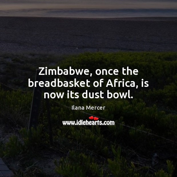 Zimbabwe, once the breadbasket of Africa, is now its dust bowl. Ilana Mercer Picture Quote