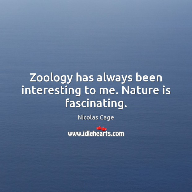 Zoology has always been interesting to me. Nature is fascinating. Image