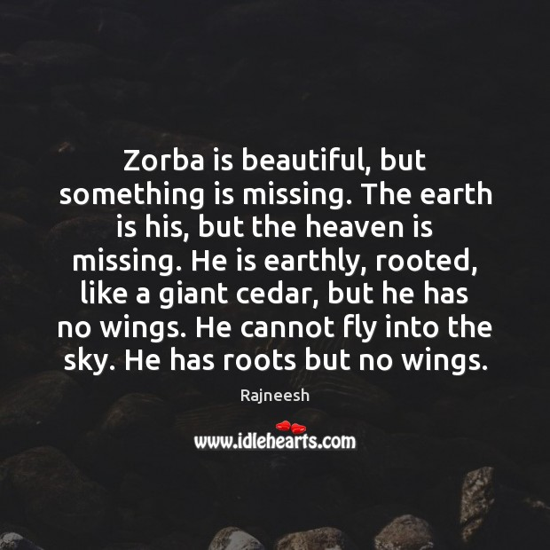 Image, Zorba is beautiful, but something is missing. The earth is his, but